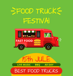banner or menu for food truck festival vector image vector image