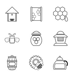 Beekeeping tools icons set outline style vector