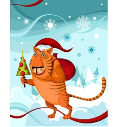 Christmas tiger vector