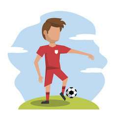 Color scene with faceless athlete football player vector