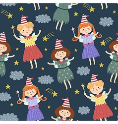 Cute fairies seamless pattern vector