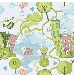 Cute Landscape Pattern vector image