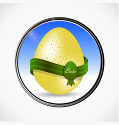 easter egg and ribbon in a metallic border vector image vector image