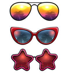 fashion sunglasses collection with palm trees vector image vector image