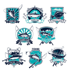 Fishing sport badge set design with fish and rod vector