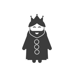 Flat icon in black and white style king vector