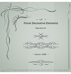 floral decoration elements vector image vector image