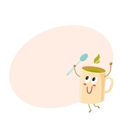 Funny green tea mug character holding a spoon vector