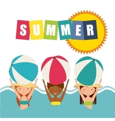 Girls and ball icon Summer and vacation design vector image