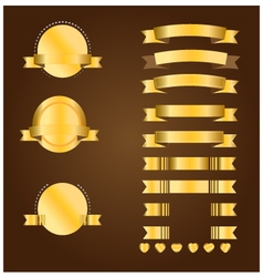 Gold banner and ribbon vector image vector image