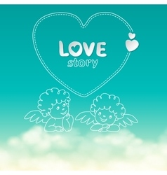 hand drawn love story quote width vector image vector image