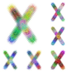 Happy colorful fractal font set - letter x vector