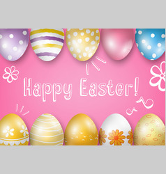 Happy easter greeting card on a pink background vector