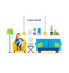 Interior of room furniture for relaxing comfort vector