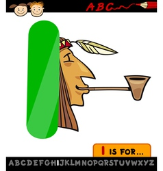 letter i with indian cartoon vector image