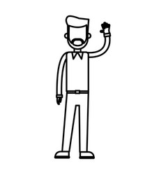 Outlined standing man with arm up design vector