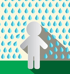 Paper Man in Rain Flat Design vector image vector image