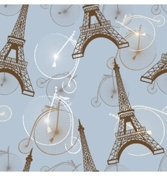 pattern with the Eiffel Tower and bicycles vector image vector image