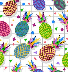 Retro vintage pineapple fruit 80s pattern backdrop vector image vector image