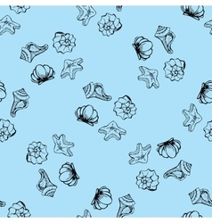 Sea shell seamless pattern vector