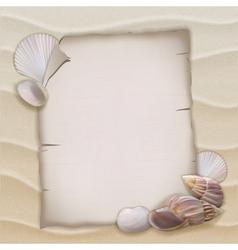 Shells and blank paper sheet vector image vector image