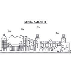 Spain alicante architecture line skyline vector