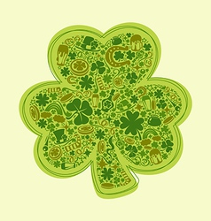 st patricks days card of green objects on white vector image