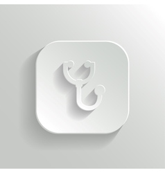 Stethoscope icon - white app button vector