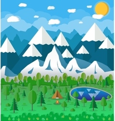Summer Campsite with a campfire vector image vector image