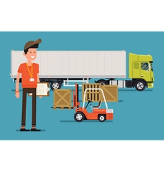 Trailer truck icon with a delivery guy vector
