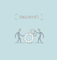 two businessman holding cog wheel teamwork vector image vector image