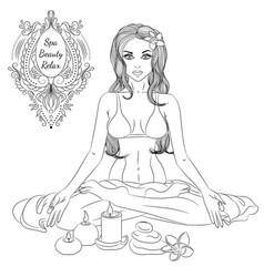 yoga girl line art vector image vector image