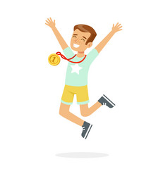 young happy boy with a first place medal kid vector image