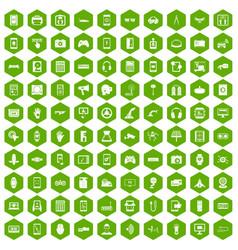 100 adjustment icons hexagon green vector