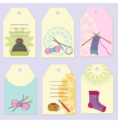 Set creative gift tags stock set of knitting vector
