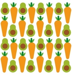 Avocado and carrot background design vector