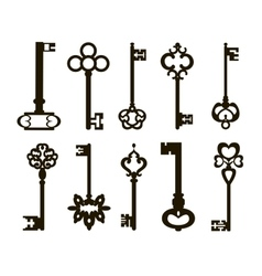 Ornamental medieval vintage keys vector