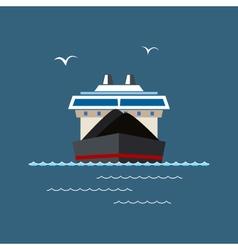 Dry cargo ship at sea vector