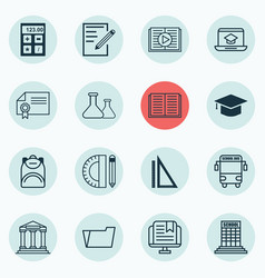 Set of 16 school icons includes diploma vector