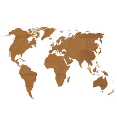 Wooden world map vector