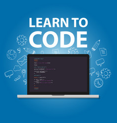 Learn to code programming language study practice vector