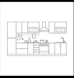 Kitchen furniture in thin line vector