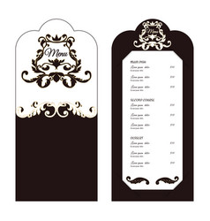 Elegant menu for the restaurant brown with white vector