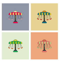 Merry-go-round icons collection vector