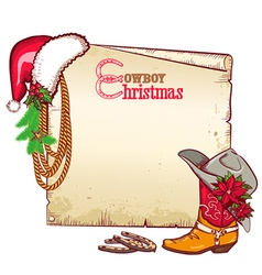 Christmas cowboy paper for text card background vector image