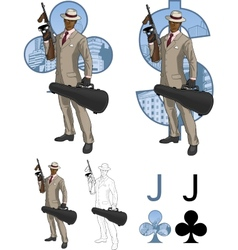 Jack of clubs afroamerican mafioso with Tommy-gun vector image