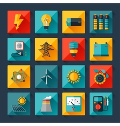 Set of industry power icons in flat design style vector