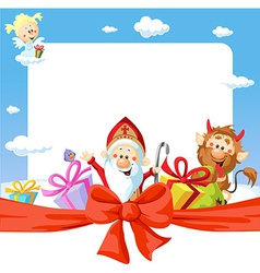 Saint nicholas frame - funny background vector