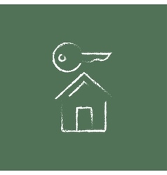 Key for house icon drawn in chalk vector