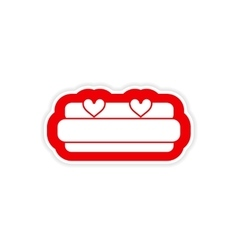 Paper sticker on white background bed honeymoon vector